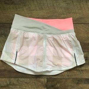 Lululemon Run Pace Skirt Gingham Dune Coral NWOT